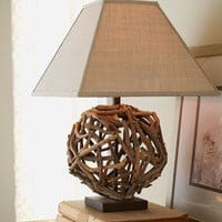 Circular Driftwood Lamp - Horchow