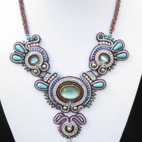 Stella Maris- Soutache beaded necklace in Turquoise, Mint, Bronze and Silver