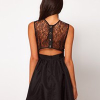 Elise Ryan Lace Taffeta Skater Dress at asos.com