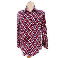 Vintage 1970s Sports Shirt Navy Blue Maroon Argyle Plaid size Large