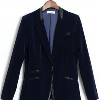 Navy Velvet Faux Leather Trim Blazer - New Arrivals - Retro, Indie and Unique Fashion