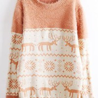 Deer &amp; Snowflakes Print Fluffy Sweater