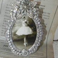 Vintage Jeweled Clear Rhinestone Photo Picture Frame Sparkling