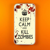 Iphone 4s Case - Keep Calm and Kill Zombies Iphone Case, Iphone 4 Case