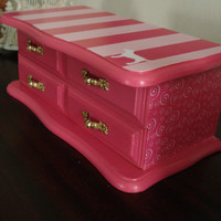 Vintage Upcycled Hand Painted And Decoupaged Jewelry Box VS Pink Inspired