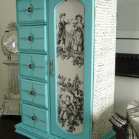Large Vintage Upcycled Hand Painted and Decoupaged Jewelry Box Tiffany Blue
