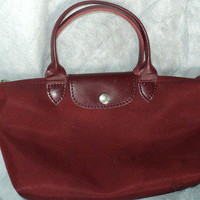 LONGCHAMP ~ Mini Le Pliage Burgundy Hand Bag - Preowned by me2u