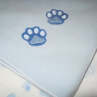 Playful  Puppies and Embroidered  Paw Print  Fleece Baby Blanket Set