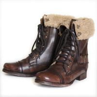 cover me with warmth brown boots by Diba