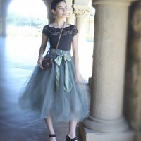 Tulle tutu skirt lined in black satin with black by TutusChic