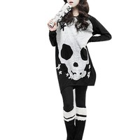 Allegra K Woman Black Long Sleeve Skull Printed Stretch Pullover Shirt S