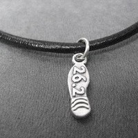 RUNNING SHOE or SHOE PRINT Necklace - Choose a 3 DIMENSIONAL RUNNING SHOE, RUNNING SHOE PRINT or 26.2 or 13.1 FOOTPRINT Necklace - Sterling Silver pendant priced with Leather and Sterling