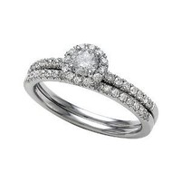 Amazon.com: 0.65 cttw Round Diamonds Wedding Engagement Ring Set in 14k White Gold Size 6.5: Finejewelers: Jewelry