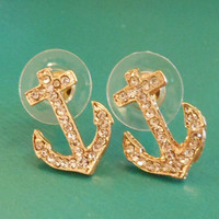 Rhinestone Anchor Earrings - Earrings - Anchor