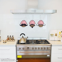 "Mustache Cupcakes - Wall Decal - 8"" x 6"" each"