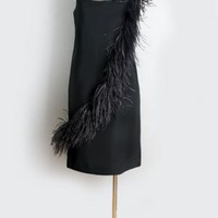 1960&#x27;s Little Black Chiffon &amp; Feathers Dress - M :