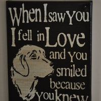 Thanksgiving Sale Saw you I fell In Love - Golden Retriever -Unique Canvas Art, wall decor, wall art, Custom Dog  Breed, Pet  Art
