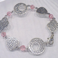 Sterling Silver Link Bracelet, Pink Swarovski Crystal Bracelet, Link Bracelet