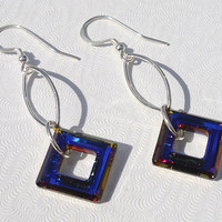 Swarovski Crystal Earrings, Sterling Silver Earrings, Volcano Swarovski Crystal Dangle Earrings