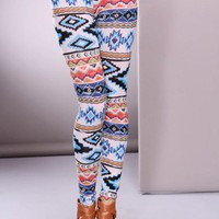 Blue Multi Ethnic Print Leggings Pants @ Amiclubwear Pants Online Store: sexy pants,sexy club wear,women's leather pants, hot pants,tight pants,sweat pants,white pants,black pants,baggy pants,smarty pants,plastic pants,women's jeans,plaid pants,gaucho pan
