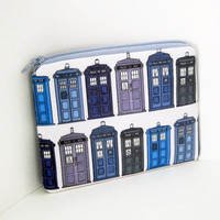 Small Zippered pouch TARDIS Doctor Who Time Travel
