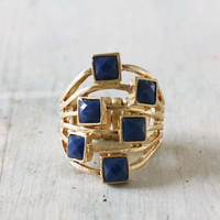 Glinted Ring in Blue, Sweet Bohemian Jewelry