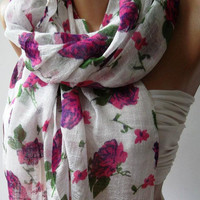 Pink Flowers    Cotton Scarf   Elegant  Soft