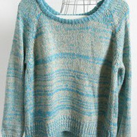 Blue Long Sleeve Back Pleated Pullovers Sweater - Sheinside.com