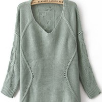 Blue Round Neck Long Sleeve Asymmetrical Sweater - Sheinside.com