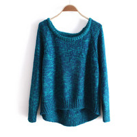 Blue Long Sleeve Asymmetrical Pullovers Sweater - Sheinside.com