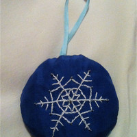 Beaded Embroidered Snowflake Ornament  by by BeanTownEmbroidery