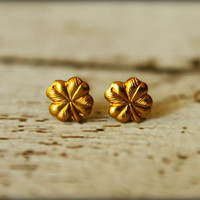 Clover Earring Studs in Raw Brass, Stainless Steel Posts