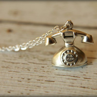 Rotary Telephone Necklace in Antique Silver