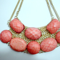 SALE Ships Now:  Salmon Coral Bubble Necklace, J.Crew Bauble Necklace, Bib Bubble Necklace, J Crew Jewelry, Bubble Statement Necklace,