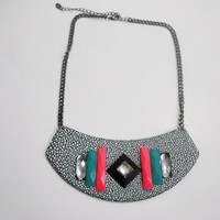 Faux Leather Bib Necklace, Tribal Jewelry, Multi Color Necklace, Bib Necklace,