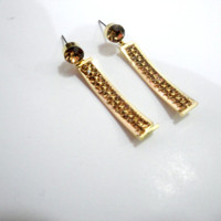 Minimalist Earrings, Gold Rhinestone Earrrings, Brown and Gold Earrings, Gold Dainty Earrings, Gold Crystal Earrings, Dangle Earrings,