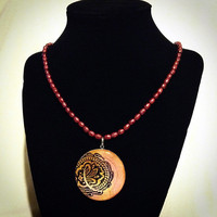 Resin pendant necklace- red and pink paisley