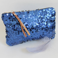 Sequin clutch, sapphire blue sequin, zipper pouch, evening bag