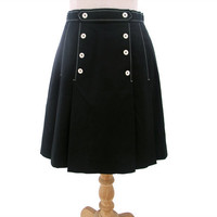 Vintage 70s Skirt A Line Pleat Black Nautical Sailor Button Small