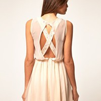 ASOS Skater Dress With Lace Cross Back at asos.com