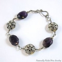 Niobium Amethyst Bracelet with Pewter Snowflake Accents Nickel Free 8.5 inch