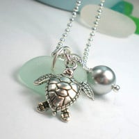 Sea Glass Jewelry: Seafoam Beach Glass  Honu Necklace