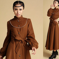 Wool Blend Long Military Coat (339)