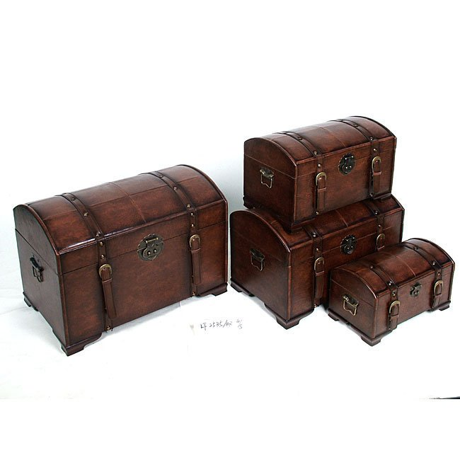 Faux Leather Treasure Trunks (Set of 4)