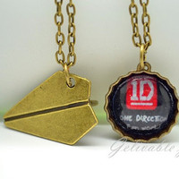 One Direction 1D bottle cap Necklace Set,Paper Airplane Necklace, Harry Styles with bottle caps pendant NODB01