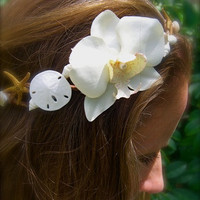 Bridal Head Wreath Hair Piece-Beach Weddings, Floral Crown, Mermaids, Seashells, Weddings, Orchid Tropical Head Wreath, Unique Weddings