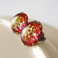 Red Glitter Earrings, Titanium Post Hypoallergenic Earrings
