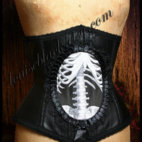 Victorian Steampunk Anatomical Medical Skeleton Cameo Corset