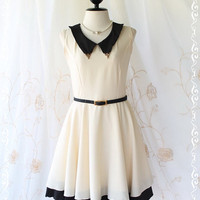 Vintage School Girl II - School Girly Casual Dress Vintage Inspired White Creamy Color With Black Peak Collar XS-S
