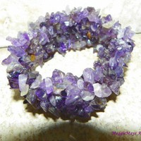 Purple Amethyst Jewelry Multi Gemstone Chip Bead Stretch Cuff Bracelet